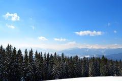 Panorama delle montagne carpatiche dalla cima della montagna di Dovha nel giorno gelido soleggiato Inverno che scala e che scia immagini stock