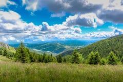 Panorama delle montagne con le foreste fotografia stock