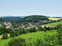 Panorama delle montagne del minerale metallifero (Sassonia/Germania) Fotografia Stock Libera da Diritti