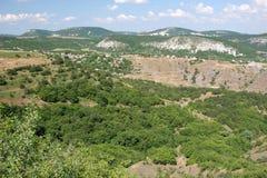 Panorama delle montagne della Crimea Immagini Stock