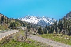 Panorama delle montagne, della neve e del cielo di verde della natura in Chimbulak Almaty, il Kazakistan Fotografie Stock Libere da Diritti