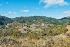 Panorama delle montagne di Ardeche Immagini Stock