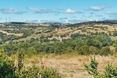 Panorama delle montagne di Ardeche Fotografia Stock