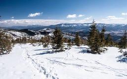 Panorama delle montagne di Beskids di inverno Immagine Stock Libera da Diritti