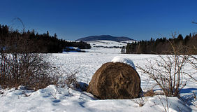 Panorama delle montagne di inverno Fotografia Stock Libera da Diritti