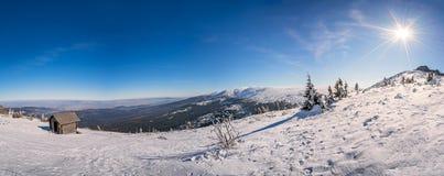 Panorama delle montagne di Karkonosze Immagine Stock