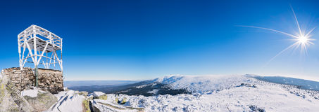 Panorama delle montagne di Karkonosze Fotografie Stock