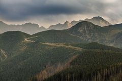 Panorama delle montagne di Tatra Fotografia Stock