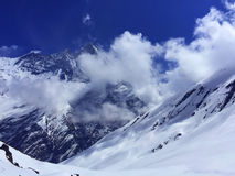Panorama delle montagne vicino ad area di Annapurna, Himalaya Fotografia Stock Libera da Diritti