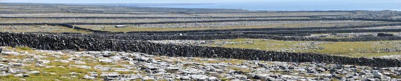 Panorama delle pareti di pietra dell'isola dell'Irlanda Aran Fotografie Stock