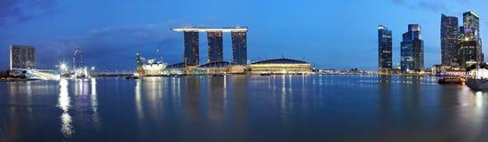 Panorama delle sabbie della baia del porticciolo, Singapore Immagine Stock