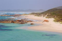Panorama delle spiagge e della linea costiera sceniche lungo l'oceano, Danimarca, Australia occidentale Fotografie Stock Libere da Diritti
