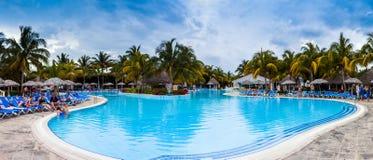 Panorama dello stagno della località di soggiorno di Melia Las Duna Hotel Fotografie Stock