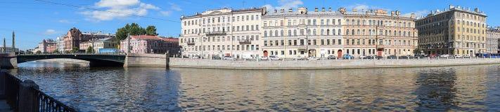 Panorama den Fontanka flodinvallningen Arkivbild