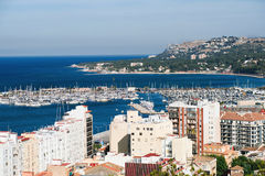 Panorama of Denia in Costa Blanca. View of Denia with old buildings, sea and port from the castle in Costa Blanca, Spain Royalty Free Stock Photography