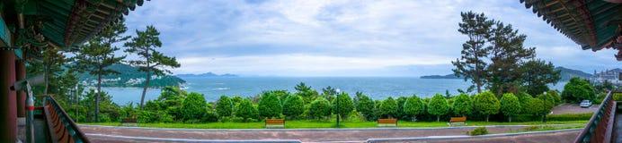 Panorama denny widok Admiral Yi słońca grzechu pamiątkowy park w Geoje wyspie Fotografia Royalty Free