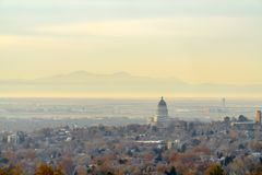 Panorama of the dense Salt Lake City downtown stock photography