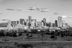 Panorama of Denver skyline long exposure at twilight. Royalty Free Stock Images