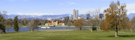 Panorama Denver Skyline Spring 2010 Royalty Free Stock Photo