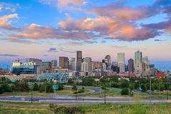 Panorama of Denver skyline at twilight. Stock Photos