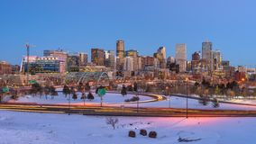 Panorama of Denver Skyline at Winter Dusk Royalty Free Stock Images