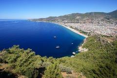 Panorama der Alanya Stadt, die Türkei Stockfotografie