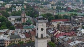 Panorama der alten Stadt Rathaus, Ratush Brummen-Schuss stock video footage