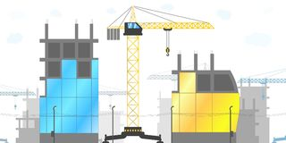 Panorama der Baustelle mit Turmkranen und verschiedenen Gebäuden im Bau Vektorillustration von lizenzfreie stockfotografie