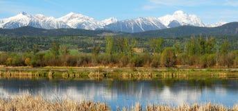 Panorama der Berge und rive Lizenzfreies Stockbild