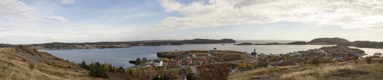 Panorama der Dreiheits-Bucht, Neufundland, Kanada stockbild