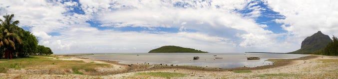 Panorama an der Fourneau Insel, Mauritius Stockbild
