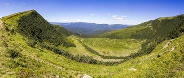 Panorama der grünen Sonne bedeckte Karpatenberge am sonnigen Tag des Sommers Lizenzfreies Stockbild