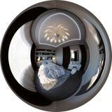 Panorama der Illustration 3d der Innenarchitektur des Schlafzimmers Stockbild