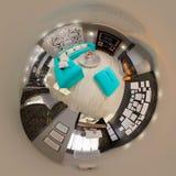Panorama der Illustration 3d des Wohnzimmerinnenraums Stockbild