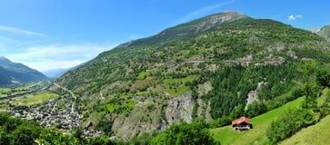 Panorama der Landschaft in Wallis, die Schweiz stockfoto