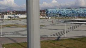 Panorama der Medaillen-Piazzas im Olympiapark stock video