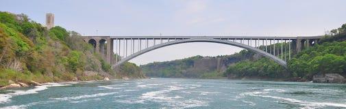 Panorama der Regenbogenbrücke auf dem Niagara Fluss Stockbild