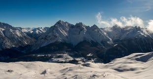 Panorama der Sesvenna-Gebirgsgruppe Lizenzfreie Stockbilder