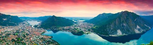 Panorama der Stadt Lecco lizenzfreies stockbild