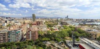 Panorama der Stadt von Barcelona stockbild