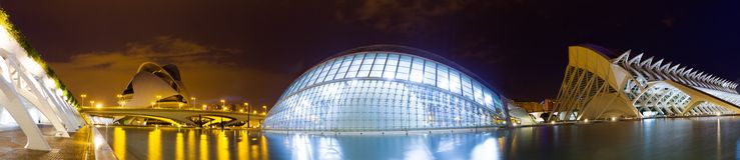 Panorama der Stadt von Künsten und von Wissenschaften Valencia, Spanien Lizenzfreie Stockbilder
