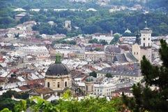 Panorama der Stadt von Lemberg Stockbild