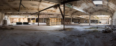Panorama of derelict warehouse Stock Photo