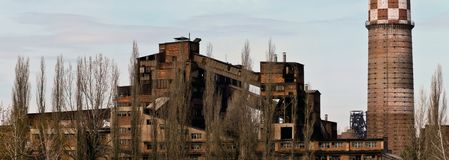Panorama des alten Bergwerkes Stockfotos