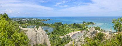 Panorama des bluffs de Scarborough Toronto, Canada Images stock