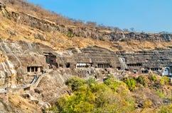 Panorama des cavernes d'Ajanta Site de patrimoine mondial de l'UNESCO dans le maharashtra, Inde images stock