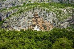 Panorama des christlichen Klosters Ostrog Stockbild