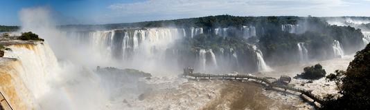 Panorama des chutes d'Iguaçu Images stock