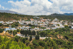 Panorama des Dorfs Kritinia Rhodos Griechenland Lizenzfreies Stockbild