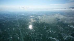 Panorama des Eises mit Reflexion der Sonne stock footage